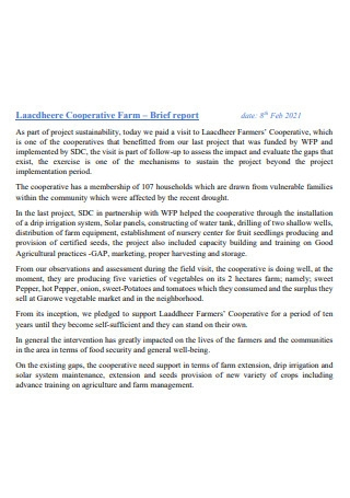 Cooperative Farm Brief Report
