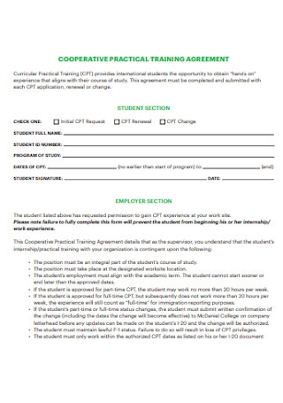 Cooperative Practical Training Agreement