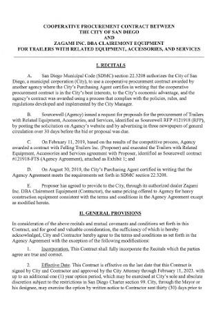 Cooperative Procurment Contract