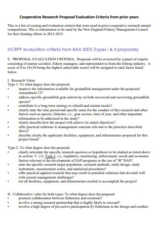 Cooperative Research Proposal