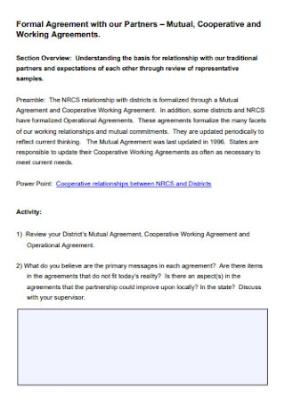 Cooperative and Working Agreement