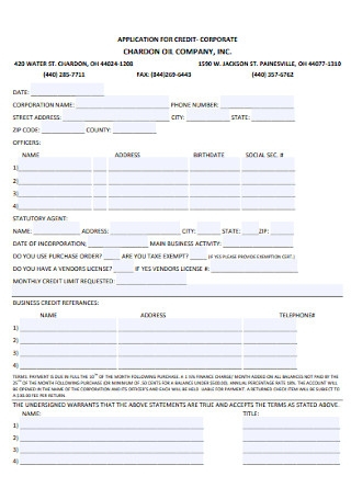 Corporate Business Credit Application