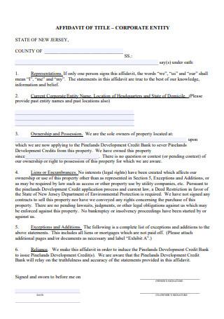Corporate Entity Affidavit of Title