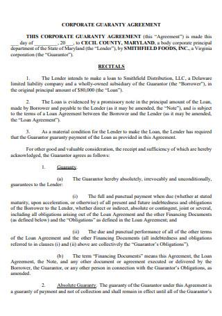 Corporate Guaranty Agreement