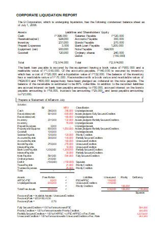 Corporate Liquidation Report