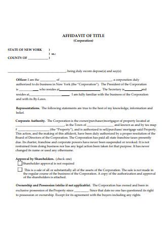 Corporation Affidavit of Title