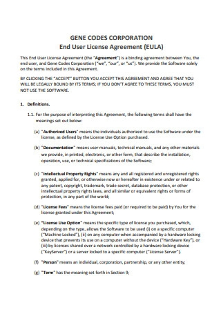 Corporation End User License Agreement