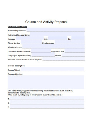 Course and Activity Proposal