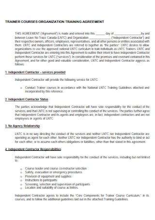 Courses Training Agreement