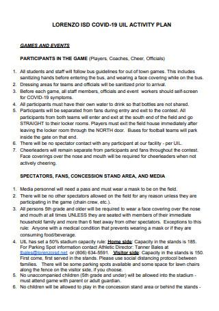 Covid 19 Activity Plan