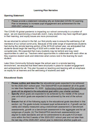 Covid 19 Learning Plan