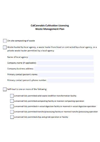 Cultivation Licensing Waste Management Plan