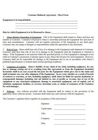 Customer Bailment Agreement