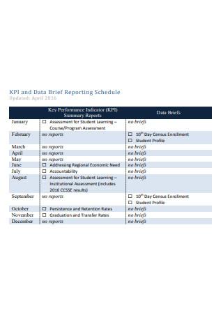 Data Brief Reporting Schedule