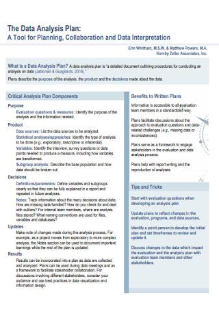 Data Interpretation Analysis Plan