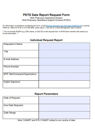 Data Report Request Form