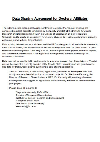 Data Sharing Agreement for Doctoral Affiliates