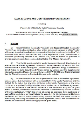 Data Sharing Confidentiality Agreement