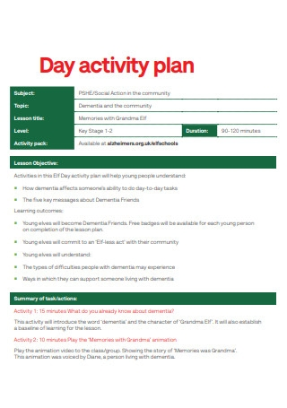 Day Activity Plan