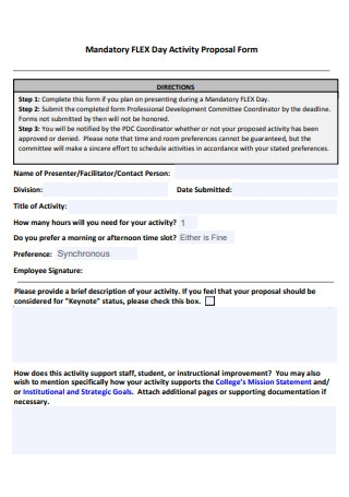 Day Activity Proposal Form