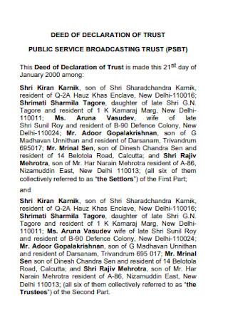 Deed of Declaration of Trust