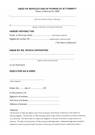 Deed of Revocation Power of Attorney