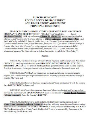 Deed of Trust and Regulatory Agreement