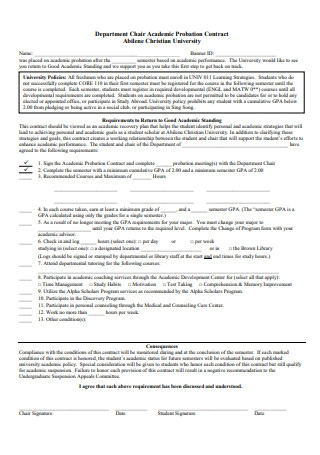 Department of Academic Probation Contract