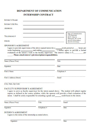 Department of Communication Internship Agreement