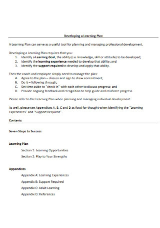 Developing a Learning Plan