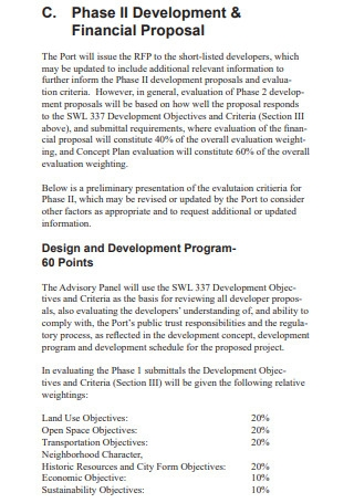 Development and Financial Proposal