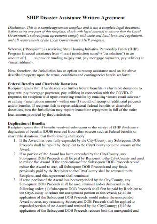 Disaster Assistance Written Agreement
