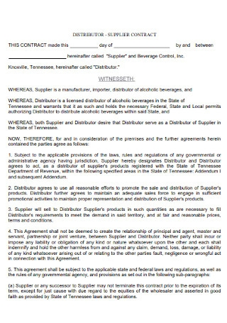 Distributor and Supplier Contract
