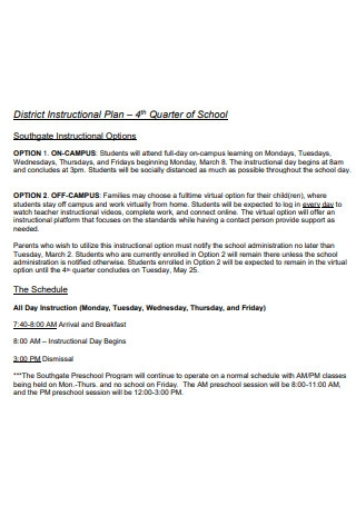 District Instructional Plan