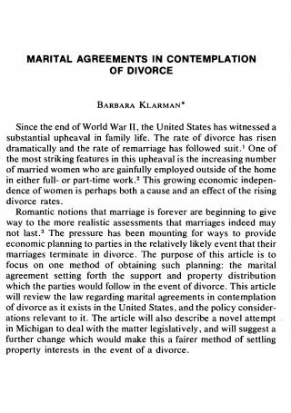 Divorce Martial Agreement