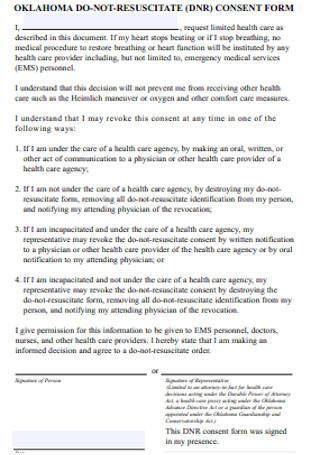 Do Not Resuscitate Consent Form