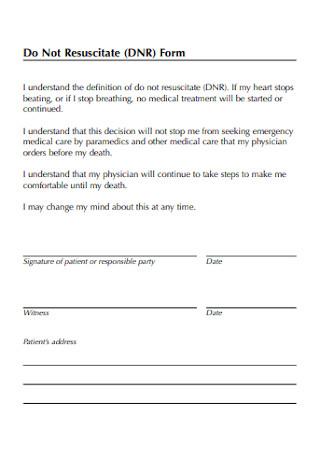 Do Not Resuscitate Form