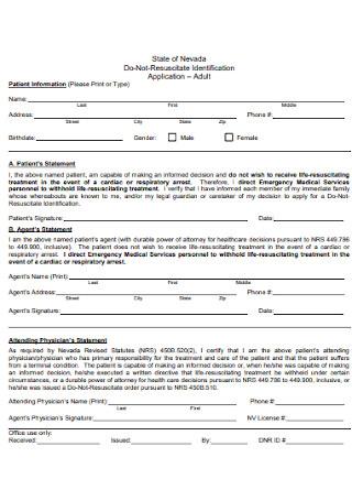 Do Not Resuscitate Identification Form