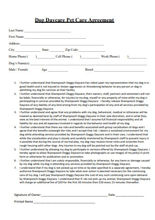 Dog Daycare Pet Care Agreement