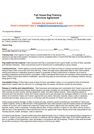 Dog Training Services Agreement