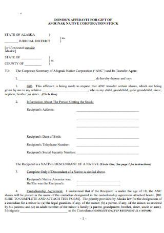 Donors Affidavit for Gift