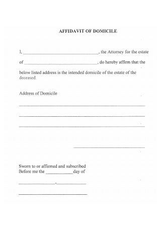 Draft Affidavit of Domicile