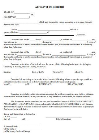 Draft Affidavit of Heirship