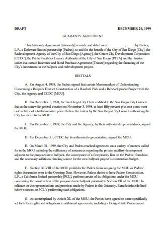 Draft Guaranty Agreement