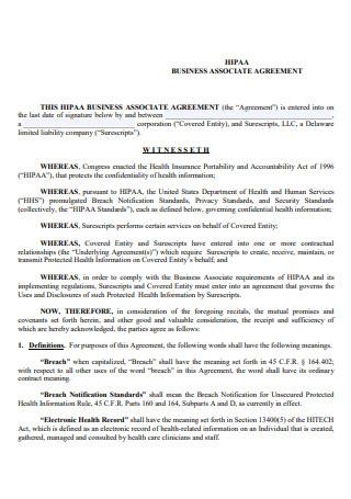 Draft HIPAA Business Associate Agreement