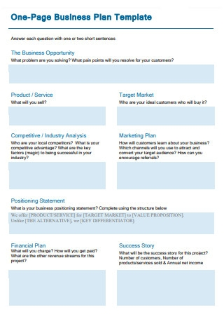 Draft One Page Business Plan