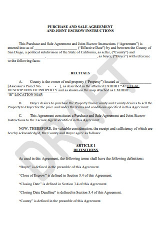 Draft Sale and Purchase Agreement