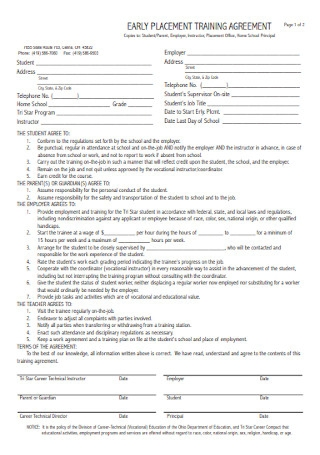 Early Placement Training Agreement