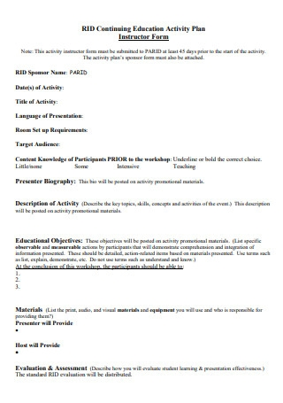 Education Activity Plan