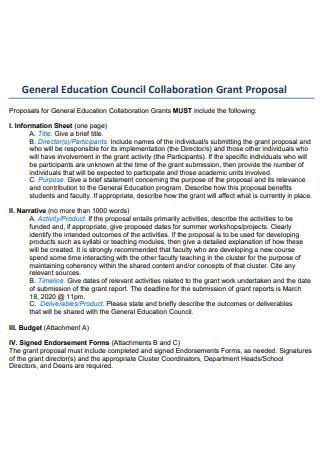 Education Council Collaboration Grant Proposal
